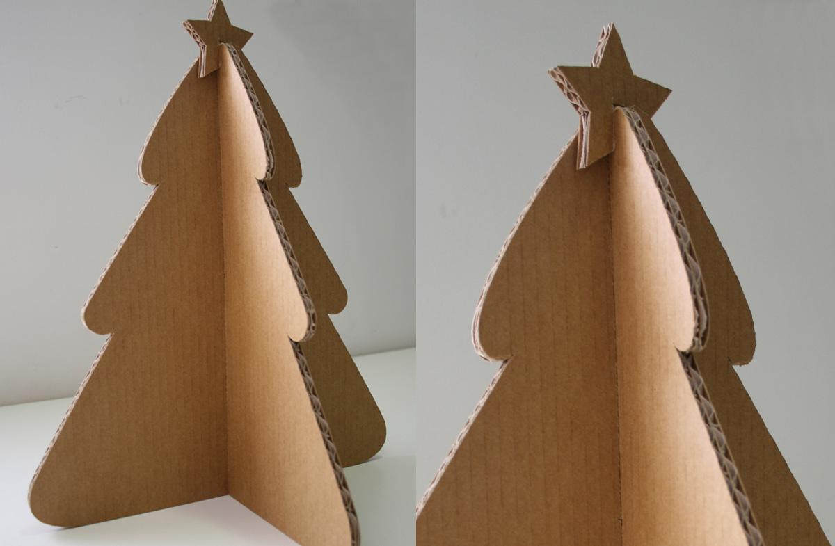 El rbol de cart n personalizable y ecol gico - Como hacer un arbol de navidad de carton ...