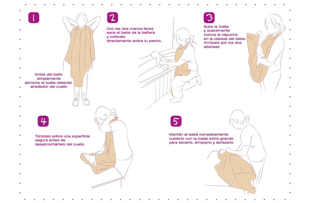La toalla de ba o para beb s m s pr ctica y premiada en for Colgador de toalla para bano
