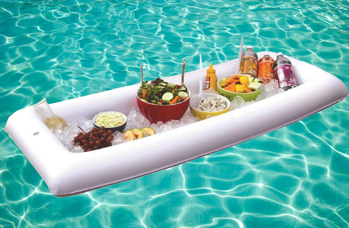 bandeja buffet hinchable para la piscina en