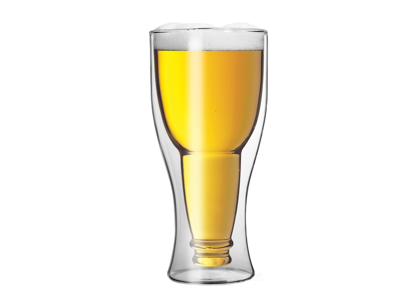 vaso de cristal con forma de botella de cerveza en