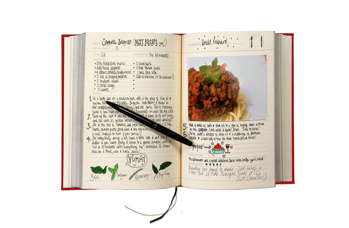 El libro más original para recetas familiares