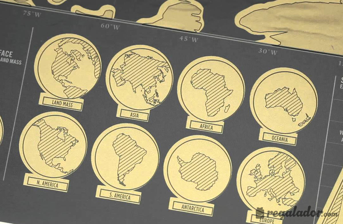 Mapamundi para rascar los países visitados