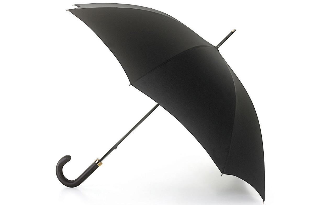 Paraguas Fulton Minister negro con mango de cuero en Regalador.com