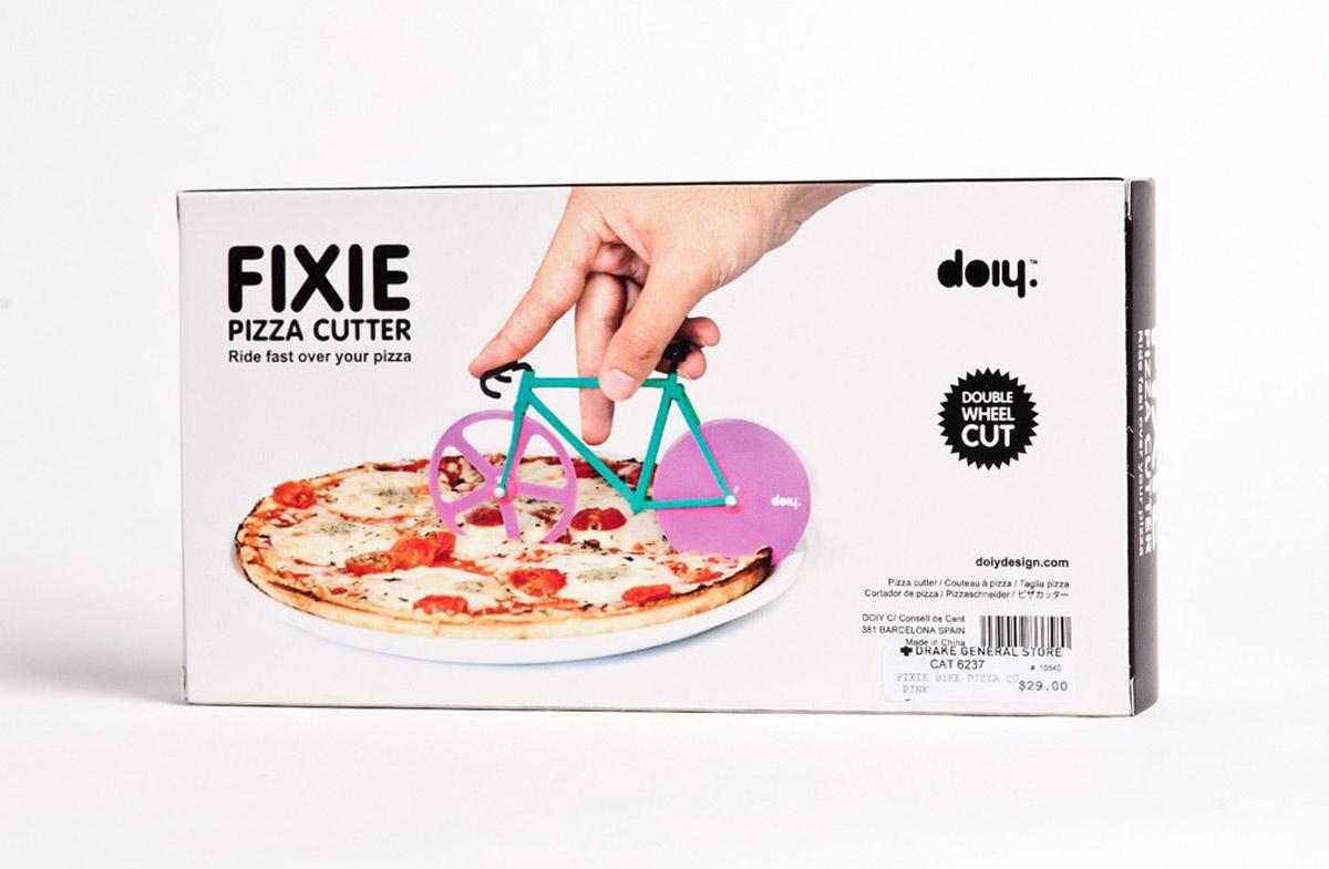 Original cortador de pizza con forma de bicicleta Fixie