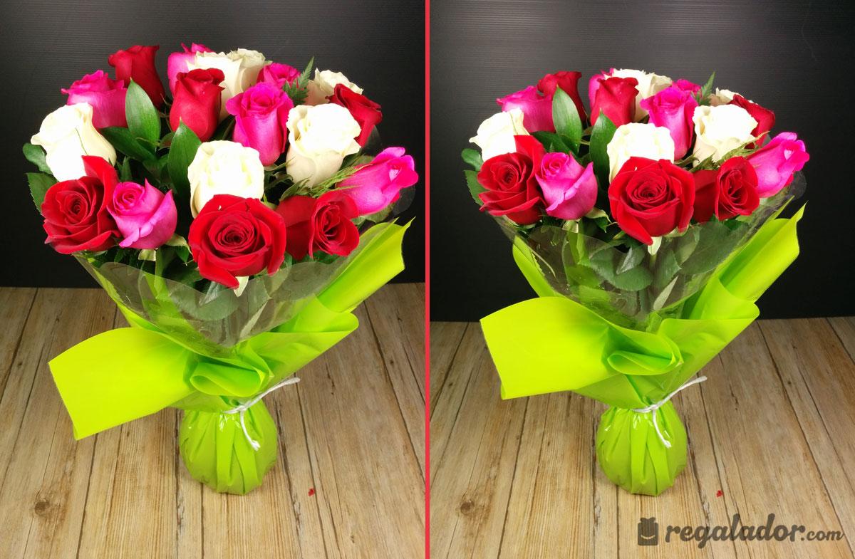 Ramo de rosas rojas, rosas y blancas