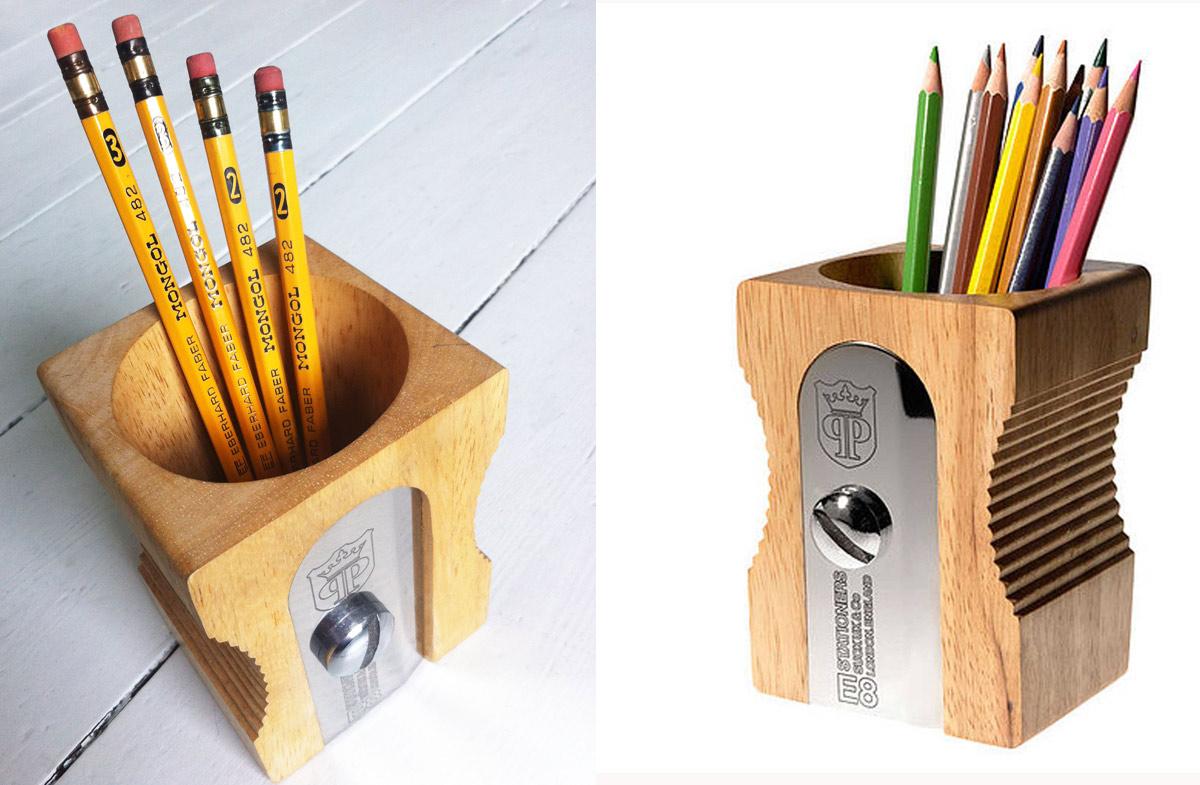 Sacapuntas gigante para colocar bolígrafos y lápices