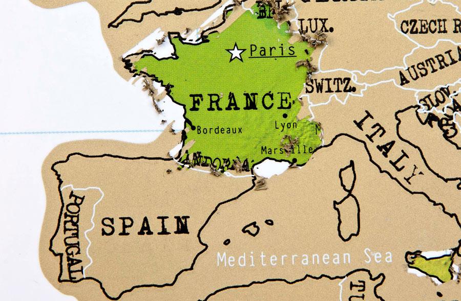 Mapa para rascar los países que has visitado