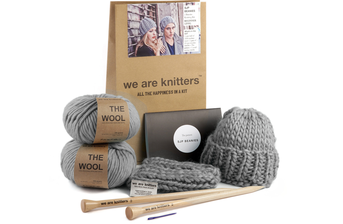 kit we are knitters de pareja para tejer dos gorros de lana en. Black Bedroom Furniture Sets. Home Design Ideas