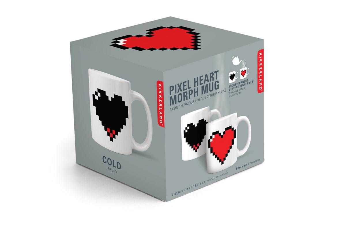 Taza con un corazón pixelado sensible al calor ;) en Regalador.com