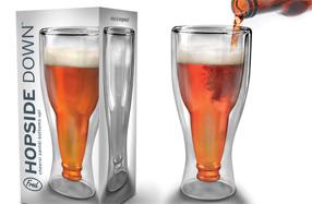 Vaso de cristal con forma de botella de cerveza