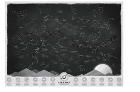 Mapa de constelaciones y estrellas que brilla en la oscuridad