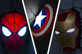 Lámparas Marvel en 3D: Spiderman y Ironman
