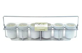 Juego de seis velas mini aromáticas con soporte metálico