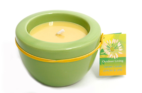 "Vela aromática ""lima limón"" con portavelas de cerámica verde"