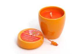 Juego de dos velas aromáticas de naranja para exteriores