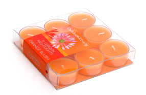 Set de dos cajas con 9 velas Tea Light con aroma a naranja