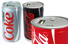 Baterías con forma de latas de Coca-Cola