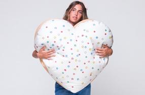 Puff de pastel con forma de corazón