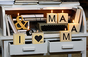 "Pack de mini velas Scrabble ""I LOVE MAMÁ"""