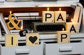 "Pack de mini velas Scrabble ""I LOVE PAPÁ"""