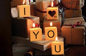 """Velas Scrabble con el mensaje """"I love You"""""""