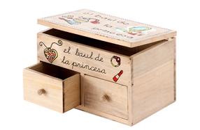 Caja joyero de pino con dos cajones
