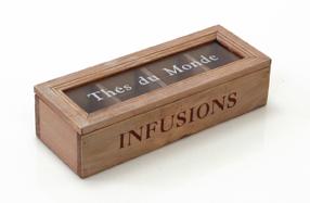 Caja de madera para infusiones con 4 compartimentos