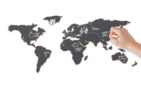 Mapa mundi de pizarra para viajeros creativos