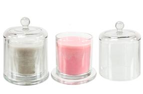 Quesera de cristal con vela perfumada