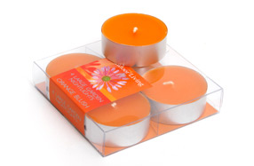 Set de dos cajas con 4 velas Tea Light con aroma a naranja