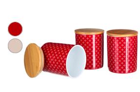 Juego de 3 tarros de porcelana con tapa de bambú