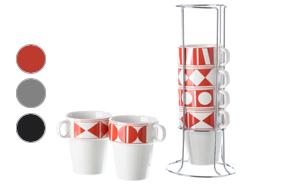 Juego de seis tazas de desayuno de diseño