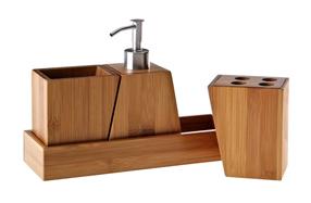Set de baño de cuatro piezas de bambú