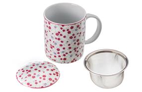 Original taza de flores con filtro para infusiones