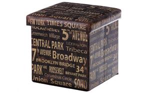 Puff plegable con letras de inspiración neoyorquina