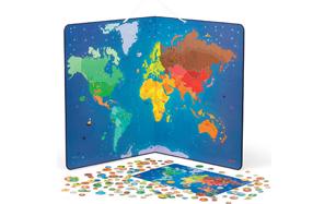 Mapamundi magnético con los animales del mundo