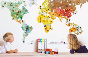 Mural imantado del mundo para conocer los animales