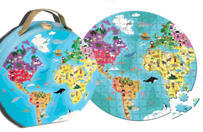 Puzzle gigante del mapa del mundo con maleta