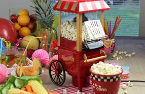 Carrito retro vintage de palomitas de maíz