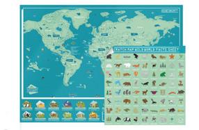 Mapamundi para rascar con animales salvajes