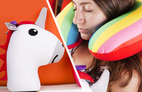 Unicornio y almohada arcoíris de viaje