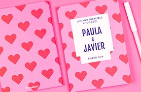 Libreta de corazones con texto personalizable