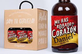 Pack de 6 cervezas románticas personalizables
