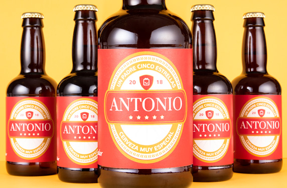 Pack de cervezas personalizables. Modelo Cinco Estrellas