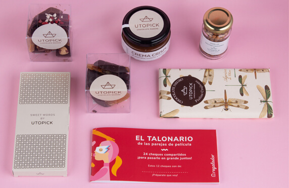 Packs de chocolate gourmet con talonario