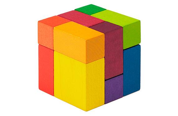 Juego de cubos de madera artísticos
