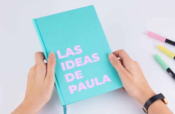 Libreta de notas A5, personalizable con cubierta de lino
