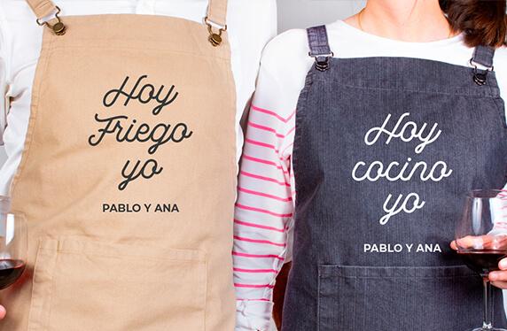 Delantales personalizados para parejas, cocinar y fregar