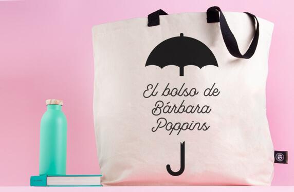 Maxibolso personalizado con el paraguas de la Srta Poppins