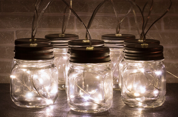 Set de tarros con luz